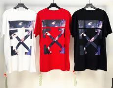 オフホワイト Off White メンズ/レディース 3色 クルーネック Tシャツ 綿 おすすめレプリカ販売