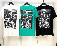 ブランド安全オフホワイト Off White メンズ/レディース 3色 クルーネック Tシャツ 綿 送料無料激安代引き口コミ