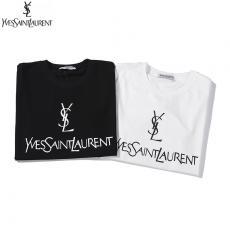 ブランド可能イヴ・サンローラン YSL メンズ/レディース 2色 クルーネック Tシャツ 綿 新品同様スーパーコピーブランド