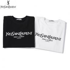 ブランド可能イヴ・サンローラン YSL メンズ/レディース カップル 2色 クルーネック Tシャツ 綿 2020年春夏新作激安販売専門店