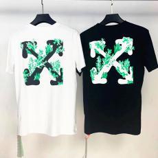 オフホワイト Off White メンズ/レディース クルーネック Tシャツ 綿 2色 カップル 送料無料スーパーコピーブランド激安国内発送販売専門店