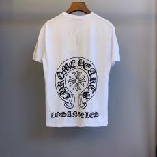 ブランド通販クロムハーツ Chrome Hearts メンズ/レディース 2色 クルーネック Tシャツ 綿 カップル  高評価レプリカ口コミ販売