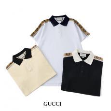 ブランド販売グッチ GUCCI メンズ/レディース カップル 3色 折り襟 ポロシャツ Tシャツ 綿  高評価スーパーコピーブランド代引き