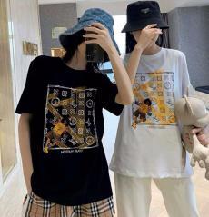 ブランド可能ルイヴィトン LOUIS VUITTON メンズ/レディース クルーネック 綿 Tシャツ 2色 送料無料格安コピー口コミ