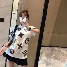 ルイヴィトン LOUIS VUITTON メンズ/レディース 2色 Tシャツ 綿 カップル クルーネック 2020年春夏新作最高品質コピー代引き対応