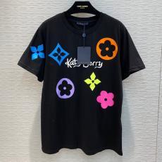 ルイヴィトン LOUIS VUITTON メンズ/レディース カップル Tシャツ 綿 2色 クルーネック 2020年春夏新作ブランドコピー国内発送専門店