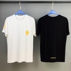 ブランド通販クロムハーツ Chrome Hearts メンズ/レディース 2色 クルーネック Tシャツ 綿 カップル 人気スーパーコピーブランド激安販売専門店