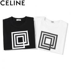 セリーヌ CELINE メンズ/レディース カップル 2色 クルーネック Tシャツ 綿 良品スーパーコピー激安販売