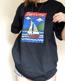 シュプリーム Supreme メンズ/レディース カップル 2色 クルーネック Tシャツ 綿 新入荷最高品質コピー