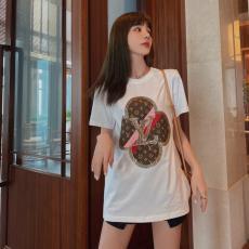 ブランド通販ルイヴィトン LOUIS VUITTON レディース クルーネック 2色 綿 Tシャツ カップル 新入荷スーパーコピー激安安全後払い販売専門店