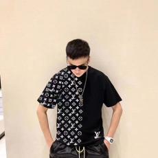 ルイヴィトン LOUIS VUITTON メンズ/レディース カップル 2色 クルーネック Tシャツ 綿 2020年新作ブランドコピー国内発送専門店