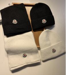 モンクレール MONCLER メンズ/レディース カップル 冬物 冬 暖かい ニット 毛糸 キャップ マフラー セット 2色 おすすめコピー代引き