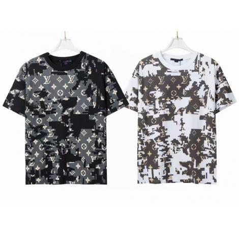 人気新作 ルイヴィトン クルーネック Tシャツ 2色 メンズ/レディース カジュアル 半袖 カップル 争奪戦☆レア LOUIS VUITTON本当に届くブランドコピー工場直営代引き後払い店