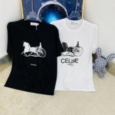 CELINE 2色 Tシャツ セリーヌ クルーネック 累積売上額TOP6 カップル メンズ/レディース 人気 綿ブランドコピー販売口コミ代引き後払い国内発送優良店
