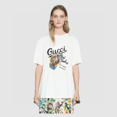 Tシャツ グッチ 新作限定! 早い者勝ち GUCCI メンズ/レディース カップル 2色 クルーネック 綿 ファッション本当に届くブランドコピー国内安全店line