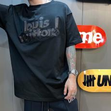 新作 Tシャツ LOUIS VUITTON カップル  累積売上額TOP4 綿 2色 刺繍 ルイヴィトン メンズ/レディース クルーネック 大人気 即対応