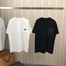 Tシャツ カップル クルーネック プラダ  大人気 関税送料込 PRADA 2色本当に届くブランドコピー工場直営国内安全後払いサイト